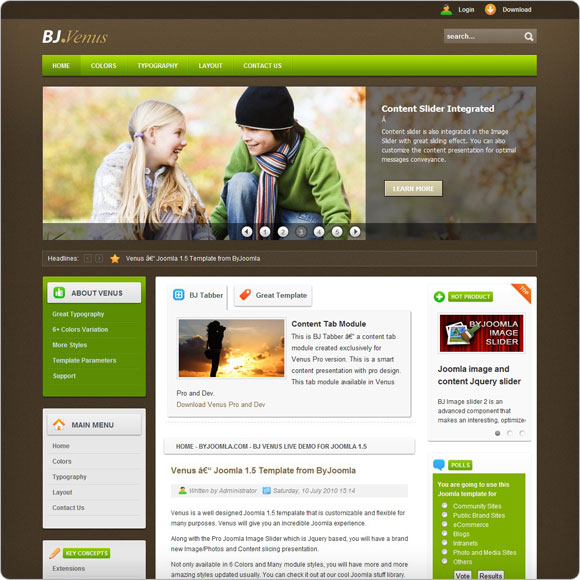 Product Preview - Venus Joomla template by byjoomla